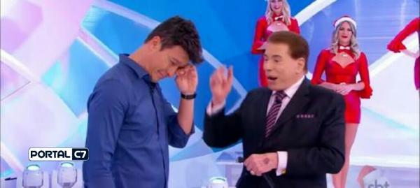 Rodrigo Faro chora no programa de Sílvio Santos; assista