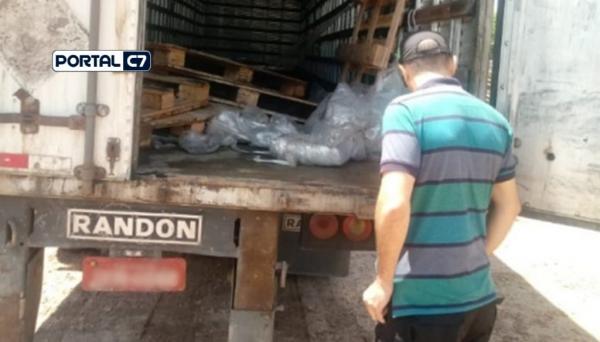 Caminhão com carga saqueada/Divulgação