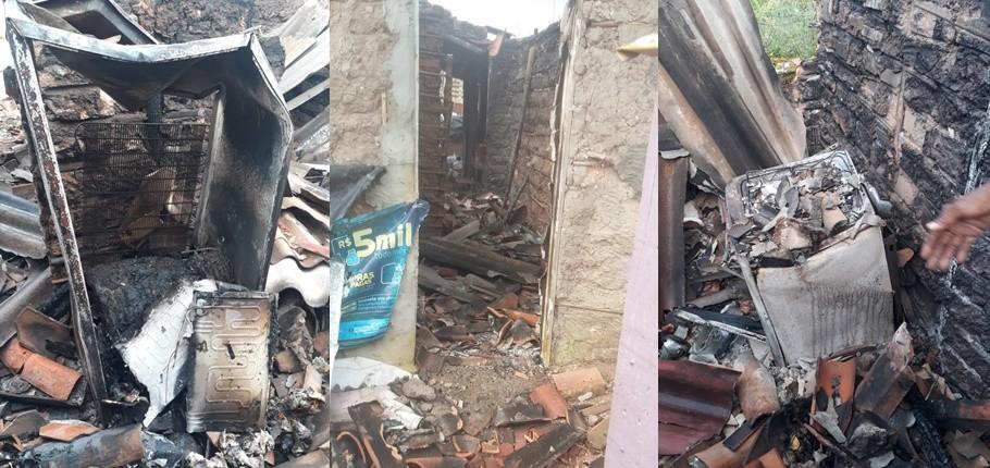 Raio destrói casa na Vila São Vitória em Teresina e idosa pede ajuda