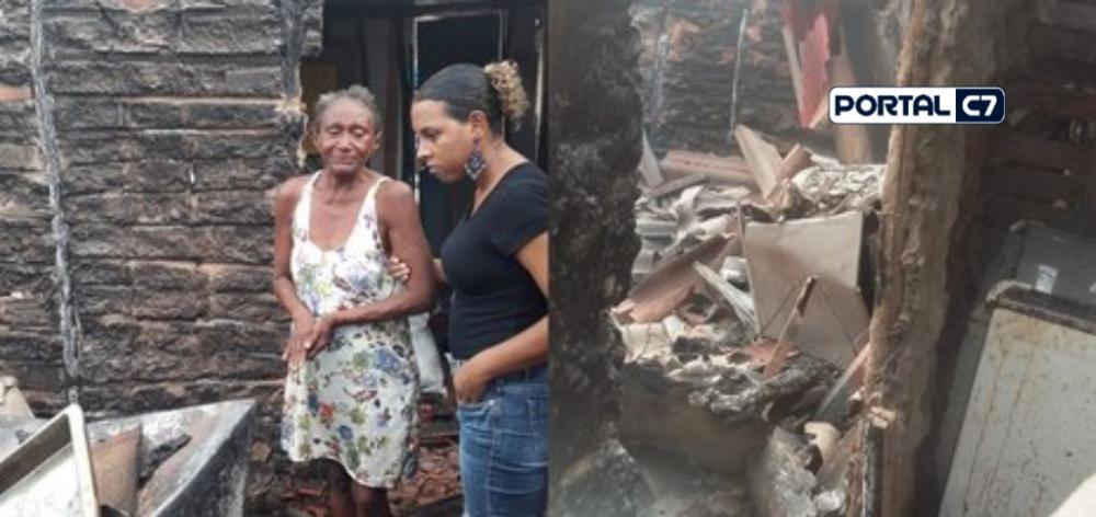 Dona Lindaval teve a casa incendiada por causa de raio/Arquivo Pessoal