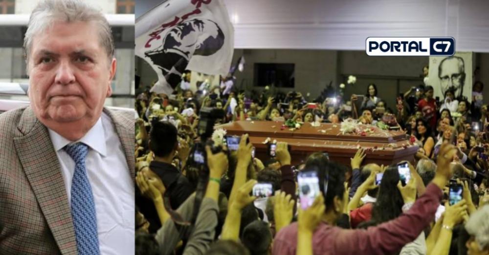 Corpo do ex-presidente peruano Alan García é velado na sede do a sede do Partido Aprista Peruano (PAP), em Lima(Reprodução/Portal C7)