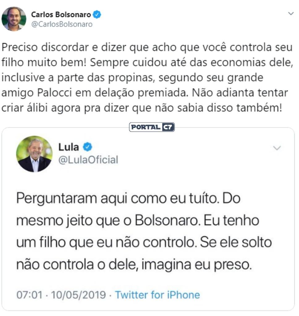 Pelo Twitter, Carlos Bolsonaro responde provocação do presidiário Lula