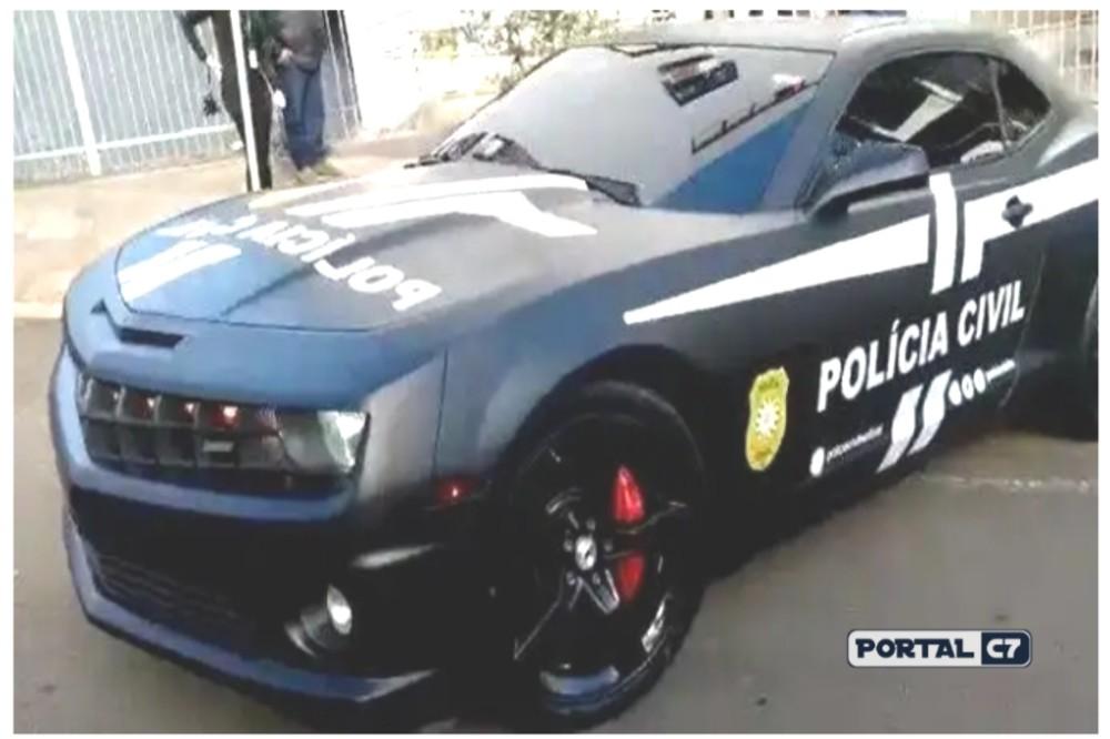Camaro apreendido é transformado em viatura da Polícia Civil