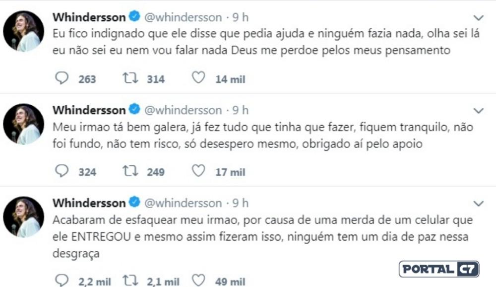 Irmão de Whindersson Nunes é esfaqueado durante assalto em Teresina