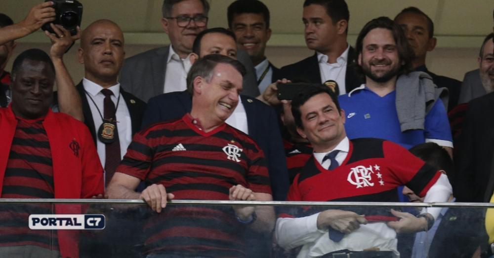 Foto: Dida Sampaio/estadão Conteúdo - Bolsonaro e Moro assistindo ao jogo do Flamengo