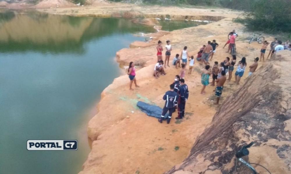 Jovem de 16 anos morre afogado após pular em lagoa na cidade de Parnaíba, no Piauí — Foto: Gleitowney Miranda / Click Parnaíba
