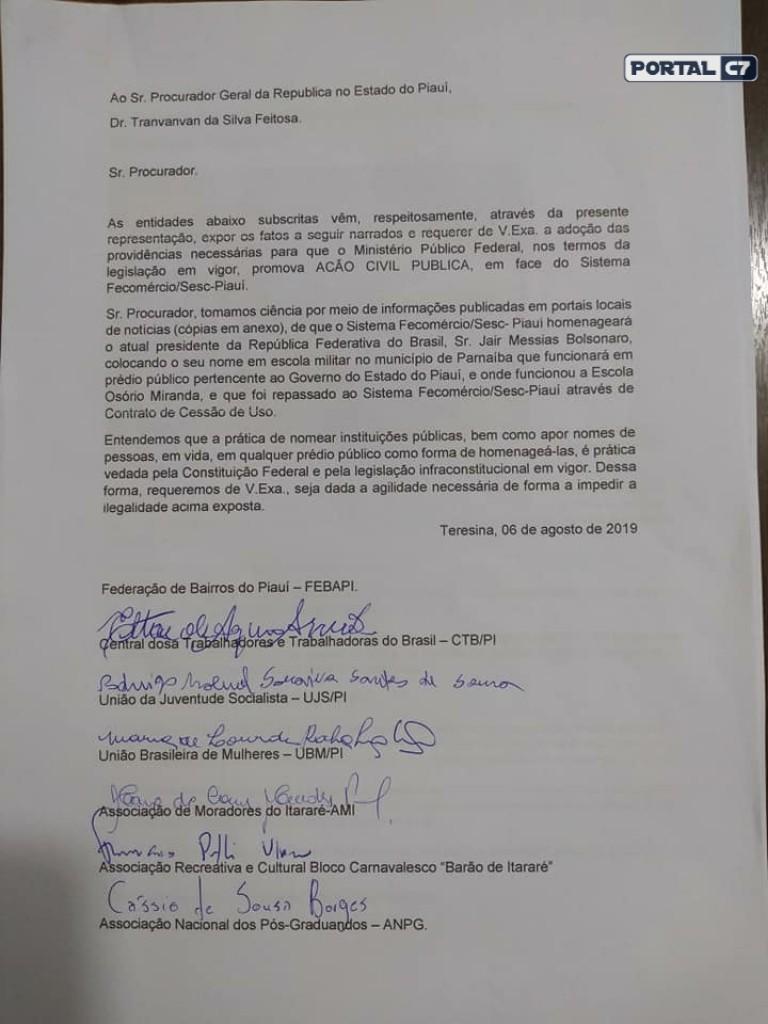 Entidades rejeitam nome de Bolsonaro em Escola do Piauí