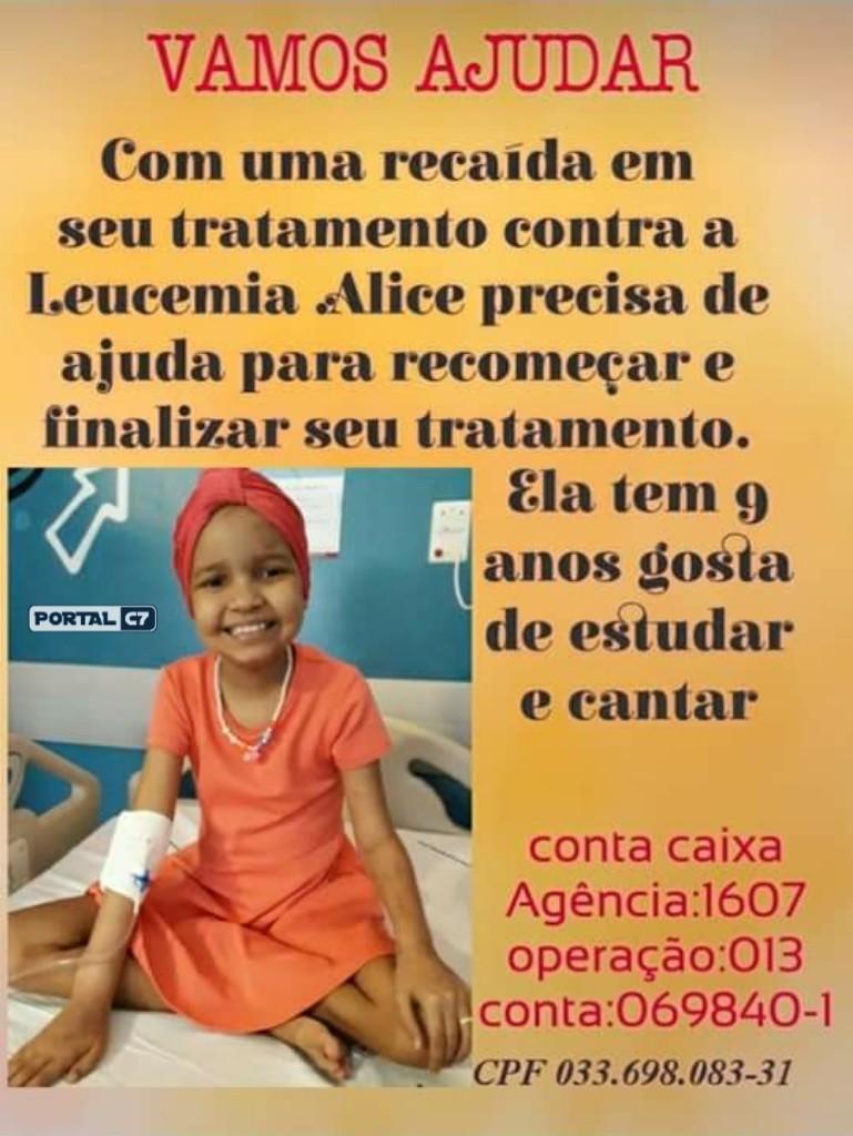 Criança de 9 anos precisa de ajuda para tratamento de Leucemia no Piauí