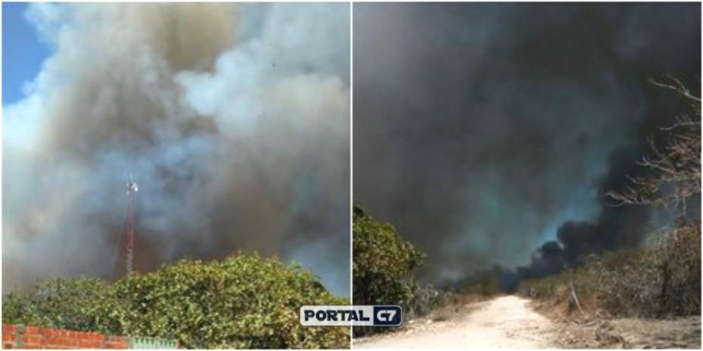 Incêndio de grandes proporções na zona rural de Canto do Buriti/Divulgação: Whatsapp