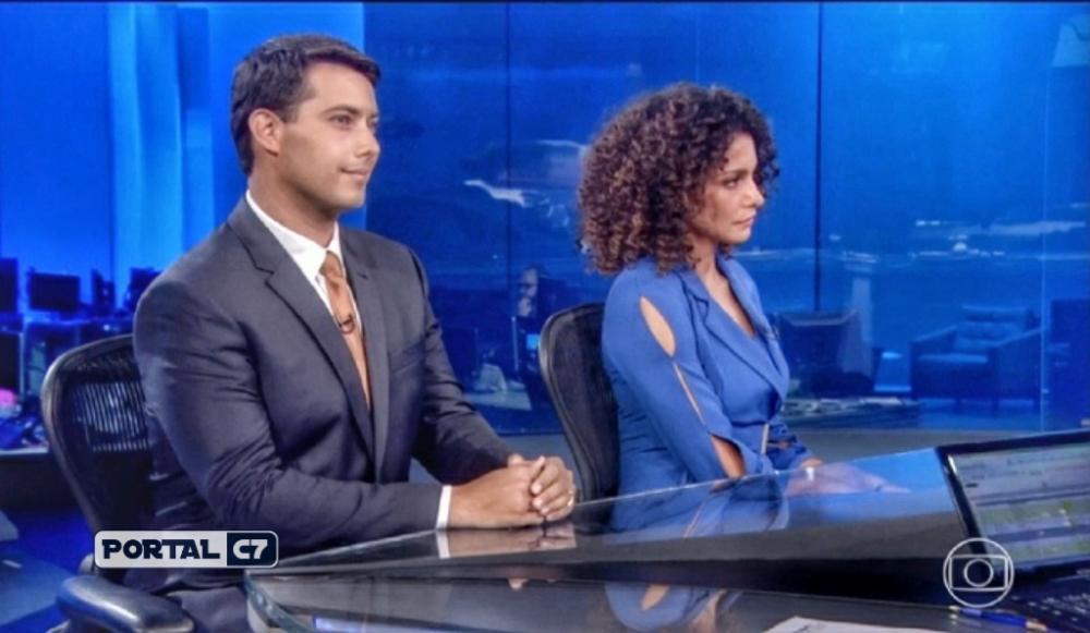 Giovanni Spinucci e Aline Aguiar sendo apresentados na edição dessa sexta-feira (22), do JN. (Foto: Reprodução / TV Globo)