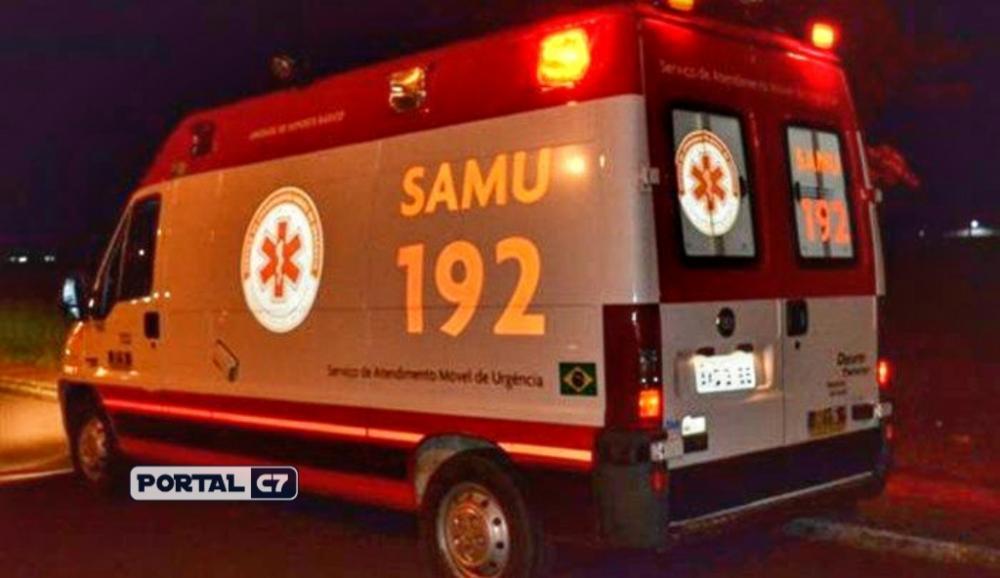 Vítima foi levada pelo SAMU ao Hospital Regional de Sousa