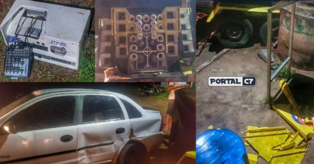 Irmão de ex-prefeito destrói paredão de som durante festa no interior do Piauí