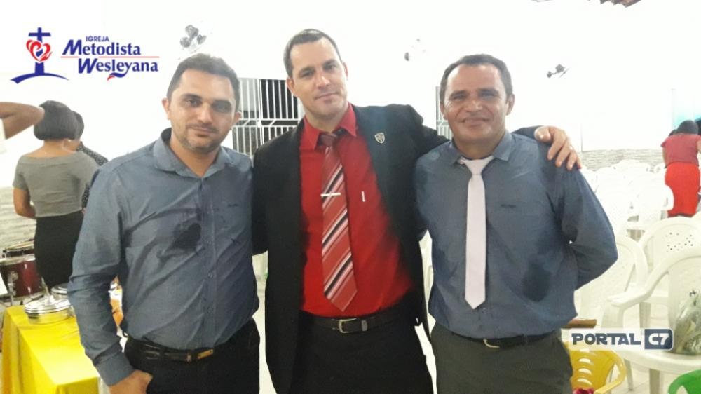 Congregado Diogo Costa (Diretor chefe do Portal C7), Pastor Adriano da Silva Paula (Sede), Presbítero Diogo (Dirigente do Ponto de pregação do bairro Novo Amarante)