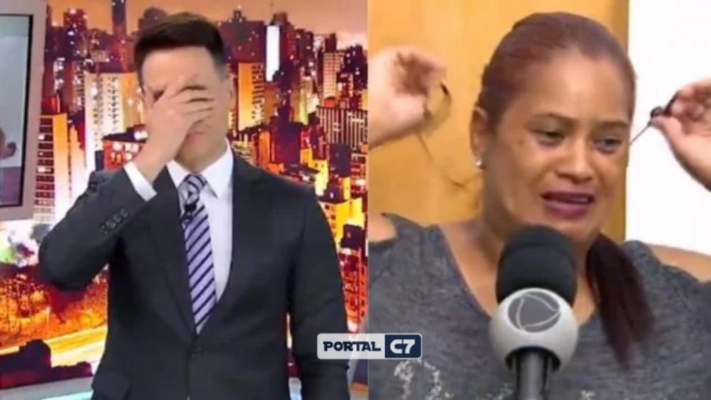 Mulher descobre o assassinato da filha durante o Cidade Alerta, de Luiz Bacci, ao vivo (Foto: Reprodução/Record)