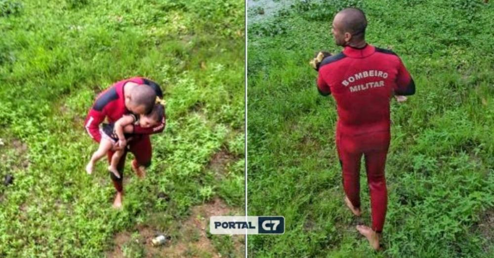 Bombeiros resgatam menina de 2 anos na Lagoa da Maraponga, em Fortaleza. A mãe dela está desaparecida e é procurada por mergulhadores do Corpo de Bombeiros.— Foto: Corpo de Bombeiros/Divulgação
