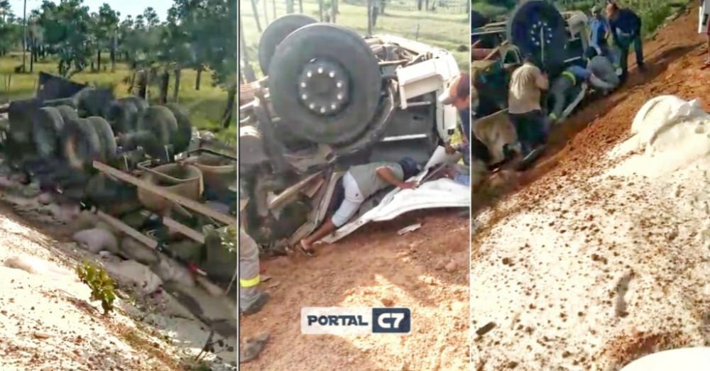 Motorista é retirado das ferragens após carreta tombar no interior do Piauí