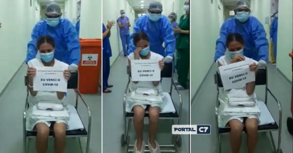 Emoção: Paciente da cidade de Palmeirais com Covid-19 deixa a UTI da maternidade