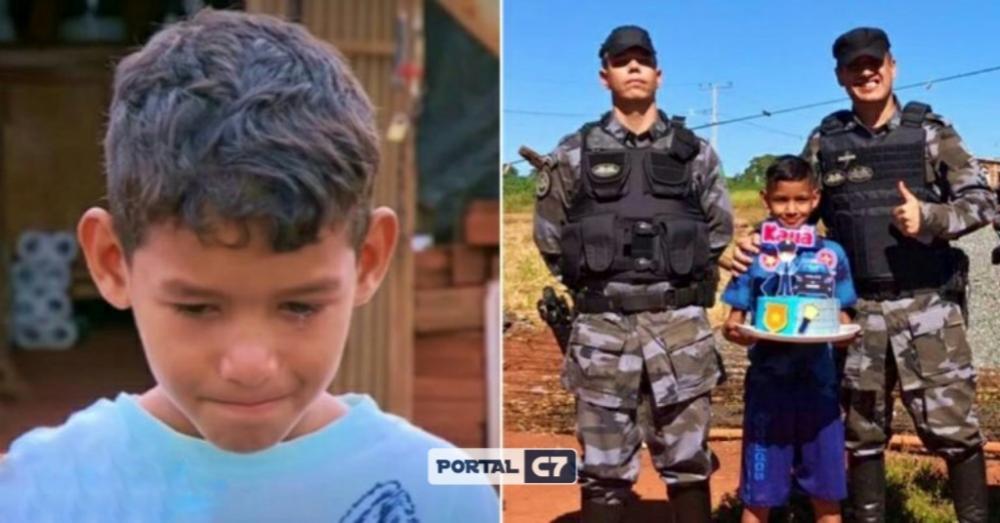 Policiais fazem surpresa de aniversário para menino que trabalhava para sustentar a casa