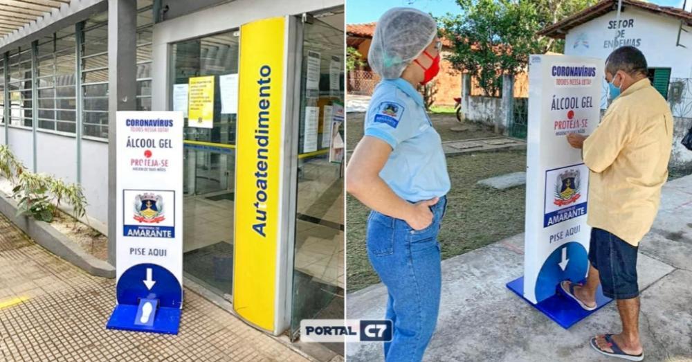 Prefeitura Municipal de Amarante instala totens com álcool gel em locais públicos