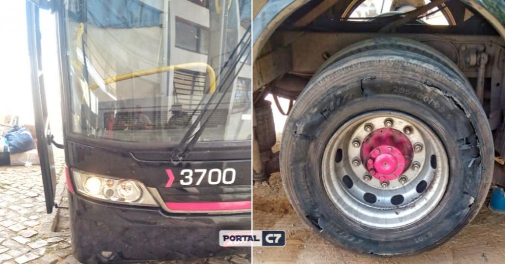 Ônibus com mais de 30 multas e pneu 'estourado' é apreendido no Piauí indo para São Paulo