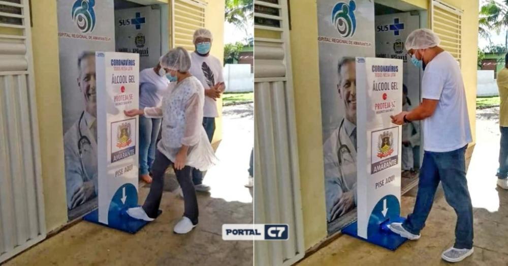 Hospital de Amarante recebe totem com álcool em gel para higienização