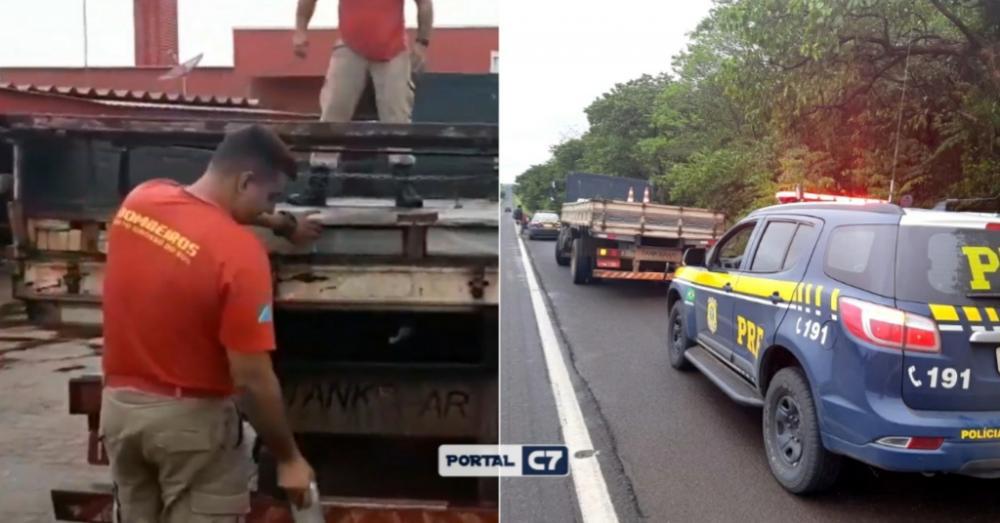 PRF apreende 1,2 tonelada de maconha em fundo falso de caminhão