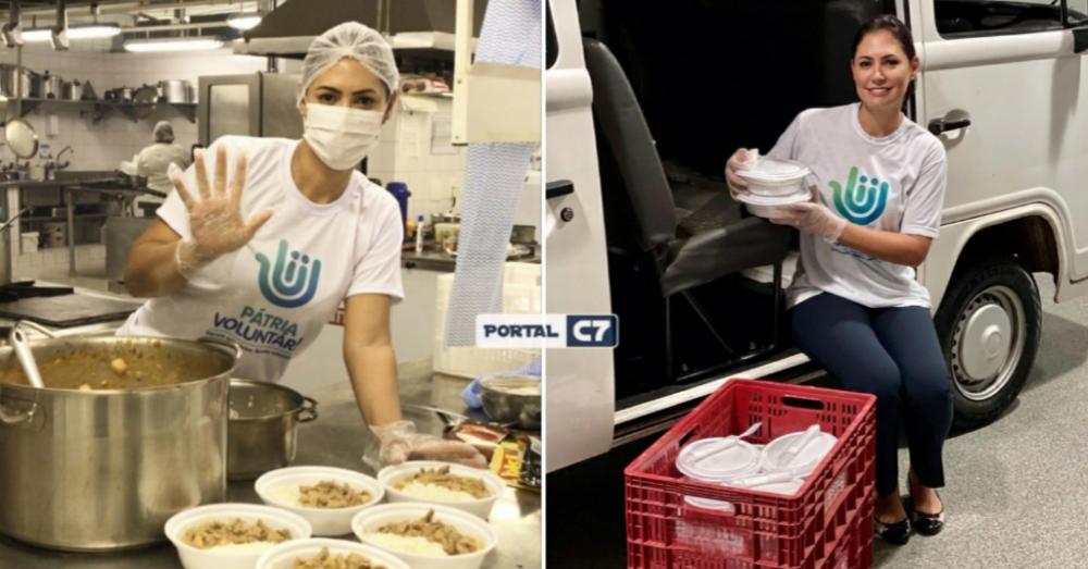 Esposa do Presidente Bolsonaro prepara quentinhas para doações; imagens