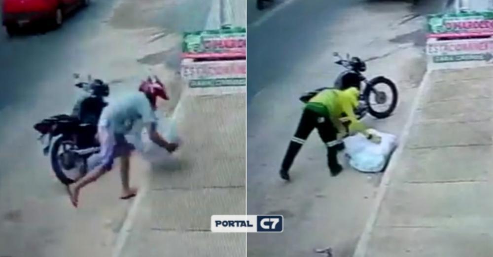 Homem deixa mercadoria em calçada e gari a joga no lixo por engano no Piauí
