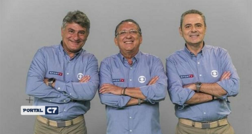 Cléber Machado, Galvão Bueno e Luís Roberto, os narradores da TV Globo