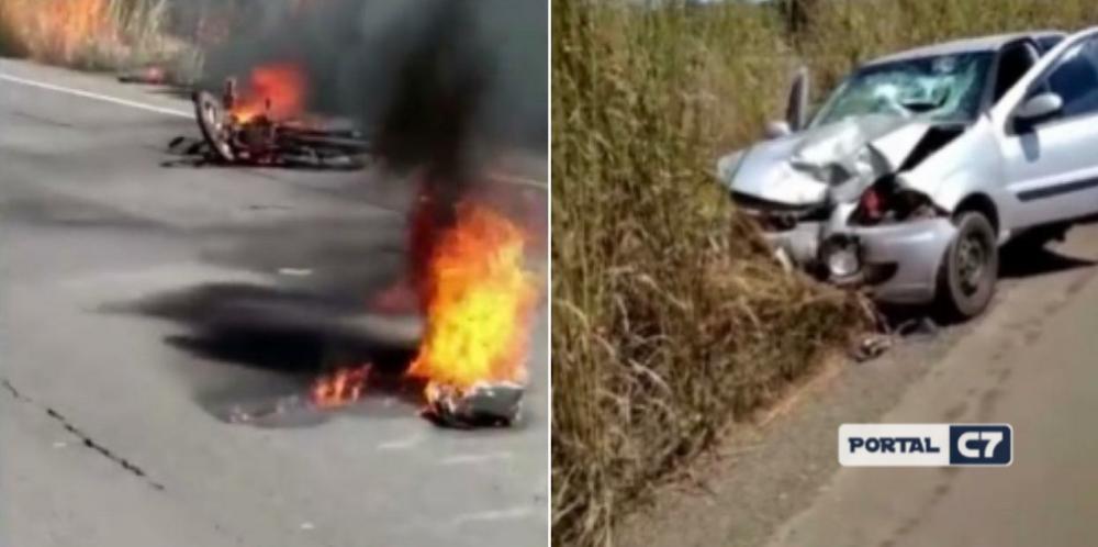 Motocicleta explode e mata idoso após colisão com carro na BR-343 no Piauí
